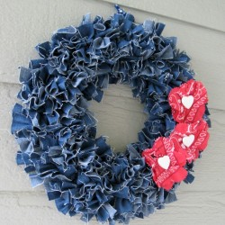 Make a Denim Wreath with Red Floral Accents