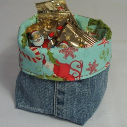 Denim Basket Container Made from Recycled Jeans