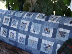 Denim Patchwork Quilt Made From Recycled Denim Clothing