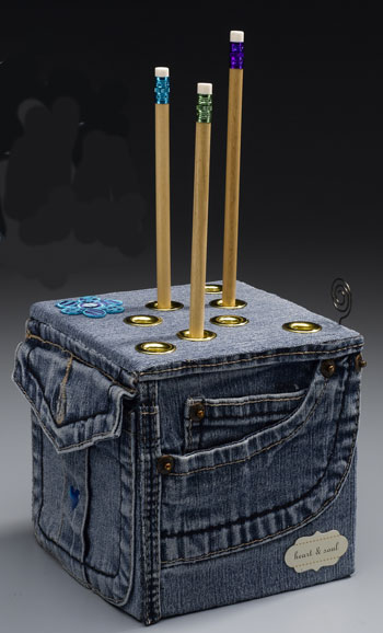 Denim Pencil Holder Cube