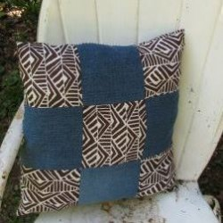 Patchwork Denim Pillow with Tribal Flair