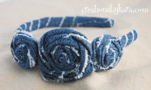Denim Rosette Headband