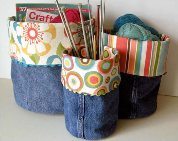 Make Denim Bins from Old Jeans