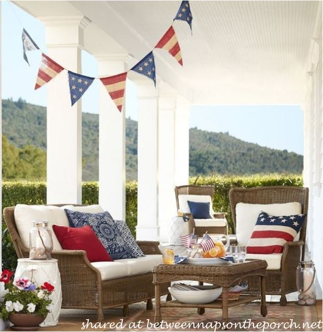 Pottery Barn Patriotic Flag Banner on Porch_wm