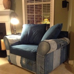 Upholster a Chair with Old Denim