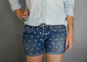 Add Polka Dots to Jeans or Jean Shorts