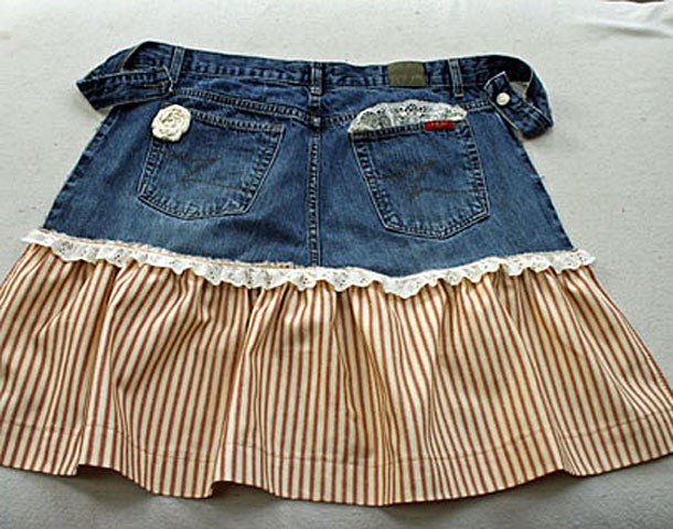Apron Made from Repurposed Zena Jeans