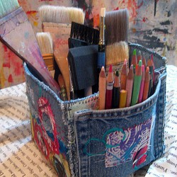 Denim Storage Box for Crafts and Painting Supplies