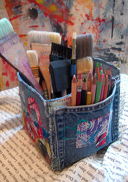 Art Supplies Denim Storage Container