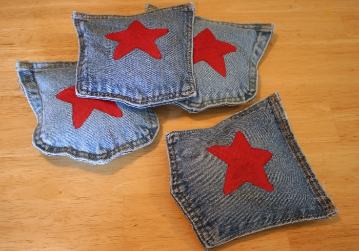 Bean Bag Toss Game Made From Recycled Jeans