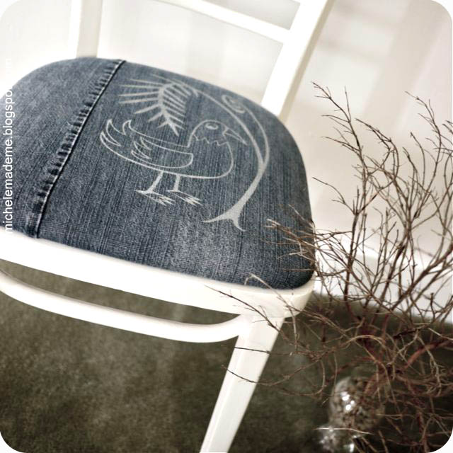 Chair Covered with Denim from Old Jeans