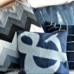 Denim Ampersand Pillow Made From Recycled Jeans