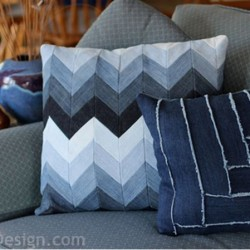 Chevron Denim Pillow Made From Recycled Jeans