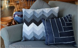 Chevron Pillow Made From Repurposed Jeans