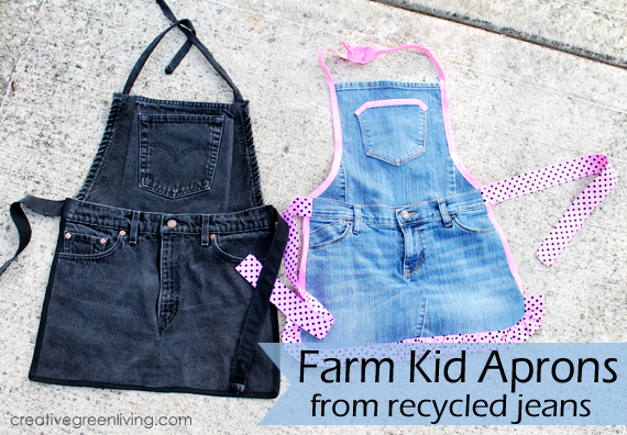 Child's Apron Made from Repurposed Jeans