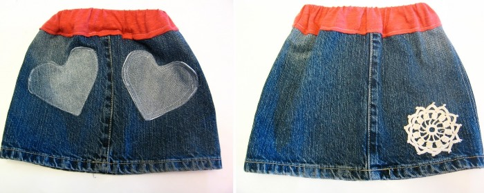 Child's Denim Skirt Made from Jeans with Heart Design