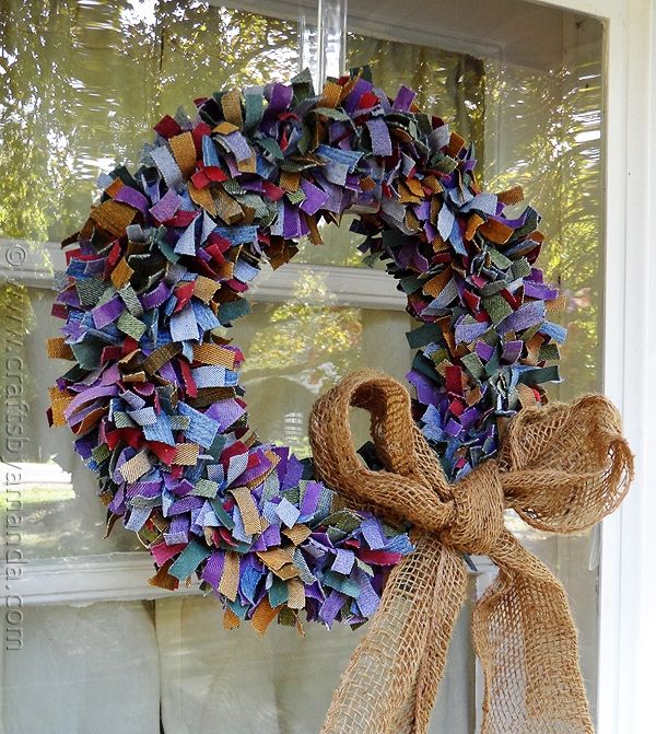 Colorful Denim Wreath Made with  Denim Scraps from Jeans