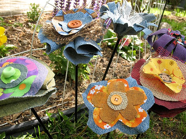 Colorful Flowers Made From Recycled Jeans