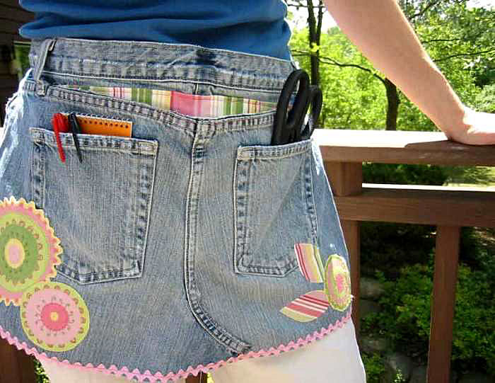 Craft Apron Made from Old Jeans