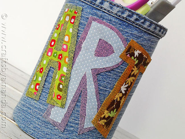 Craft a Pencil Holder from a Can and Denim