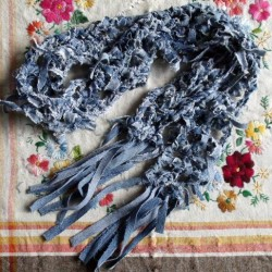 Crochet a Denim Scarf From Recycled Jeans