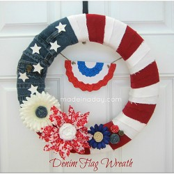Make a Patriotic Denim Flag Wreath For The 4th Of July