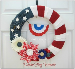 DIY 4th of July Wreath Made With Denim