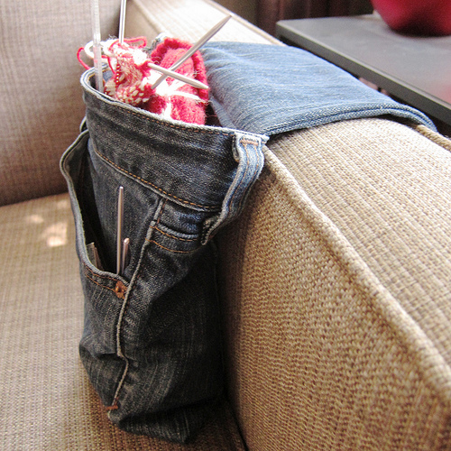 Denim Armrest Project Bag Made From Jeans