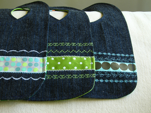Denim Baby Bibs Made From Old Jeans
