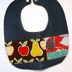 Denim Baby Bib With Snap Closure