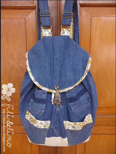 Denim Bookbag Made From Recycled Old Jeans