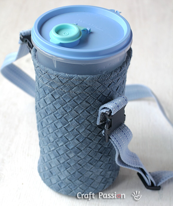 Denim Bottle Holder With Carrying Strap