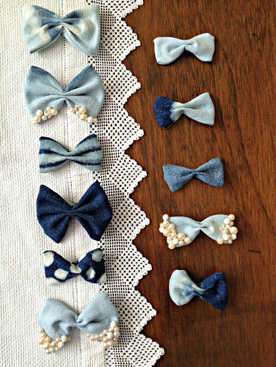 Denim Bows Made from Old Jeans 1