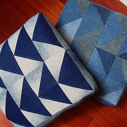 Denim Floor Cushions Made from Recycled Jeans