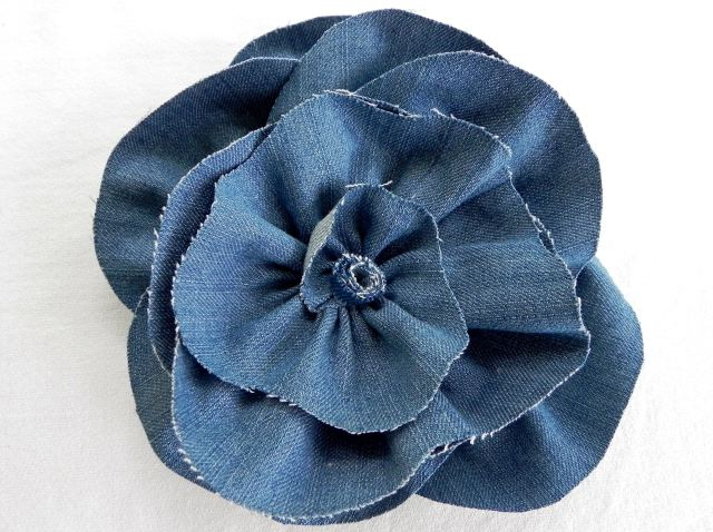Denim Flower Made from Repurposed Jeans