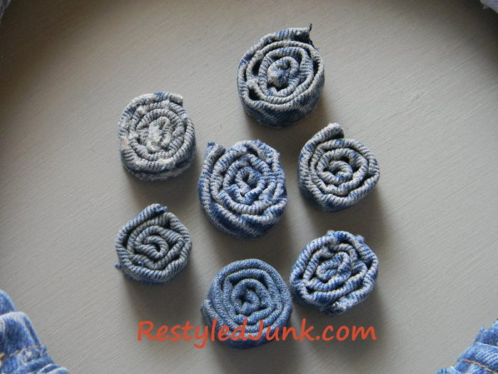 Denim Flower Rosettes Made from Jean Seams
