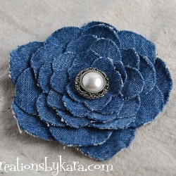 Denim Flower Made from Recycled Jeans