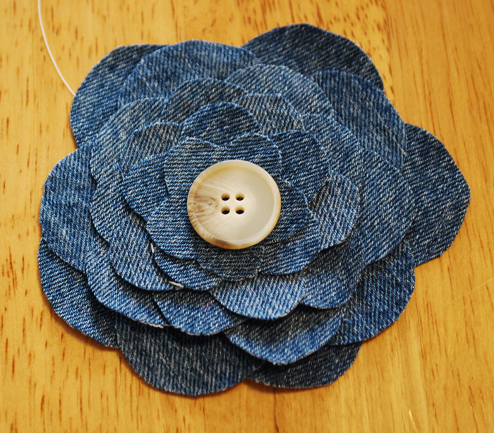 Denim Flower with a Button Center