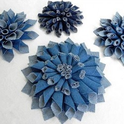 3 Flower Corsages Made from Repurposed Jeans