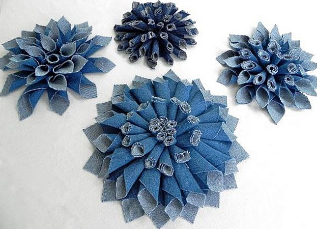 Denim Flowers Made from Recycled Jeans