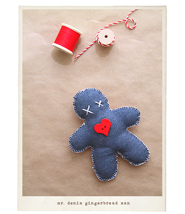 Denim Gingerbread Man Ornament for Christmas