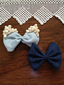 Denim Hair Bows Made from Repurposed Jeans