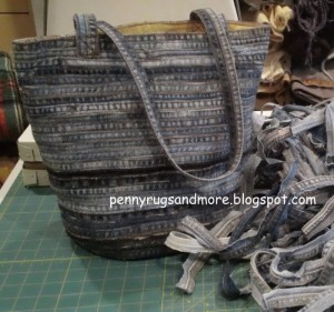 Denim Jean Bag Purse Made From the Seams of Repurposed Jeans