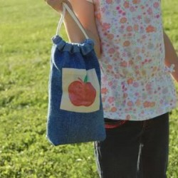 Denim Lunch Sack or Toy Bag
