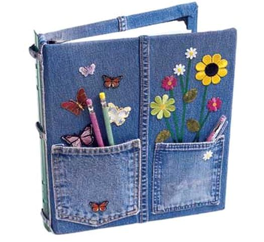 Book Cover Black Jeans : Cover a notebook with recycled denim jean fabric