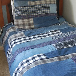 Patchwork Denim & Flannel Quilt From Recycled Jeans