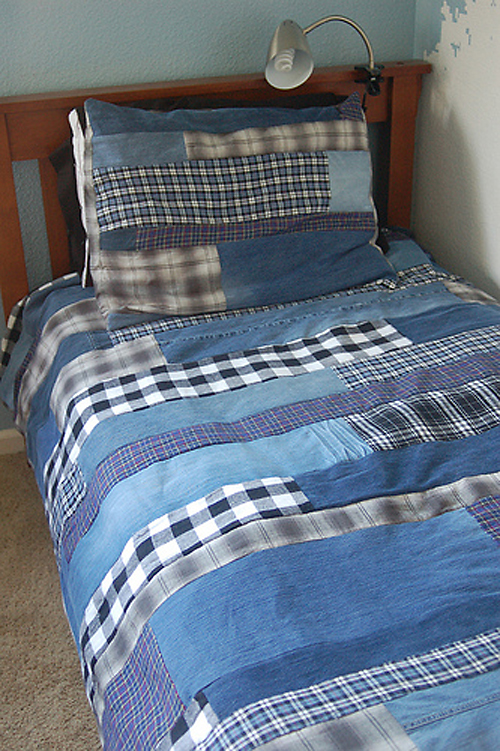 Patchwork Denim Amp Flannel Quilt Made From Recycled Jeans