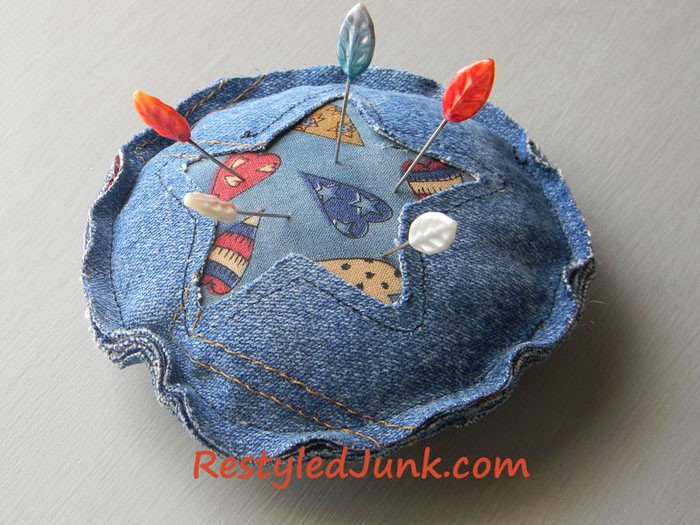 Denim Pincushion Made from Jean Pocket