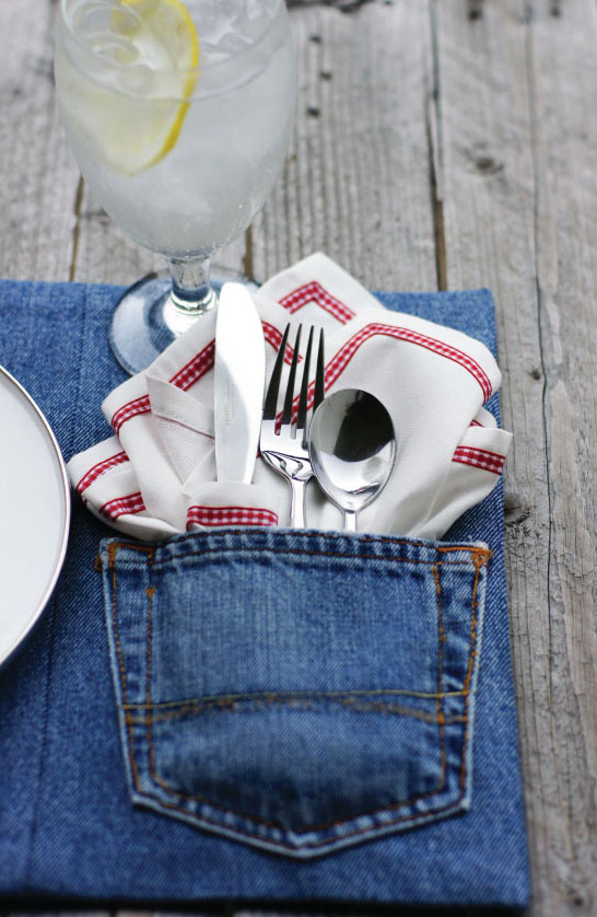 Denim Placemat with Flatware Pocket Made from Jeans