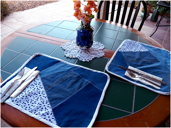 Denim Placemats Made from Recycled Jeans